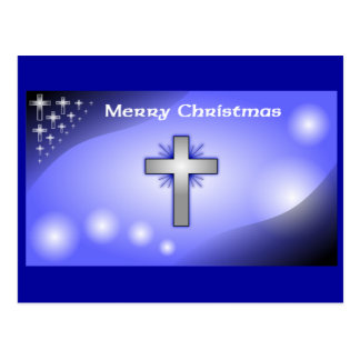 Merry Christmas Ice Blue Glowing Cross Postcard
