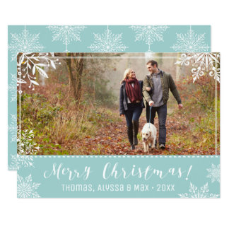Merry Christmas Ice Blue & Snow Personalised Photo Card