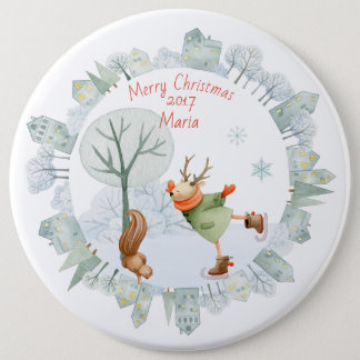 Merry Christmas Ice Skating Deer in Winter on 6 Cm Round Badge