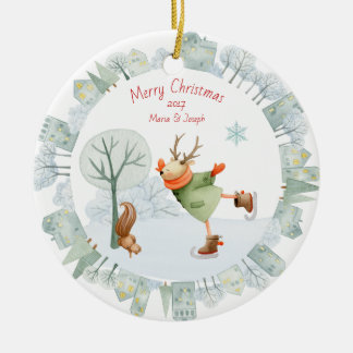 Merry Christmas Ice Skating Deer in Winter on Ceramic Ornament