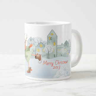 Merry Christmas Ice Skating Deer in Winter on Large Coffee Mug