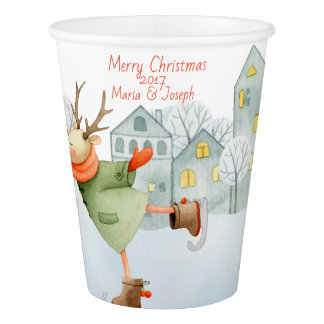 Merry Christmas Ice Skating Deer in Winter on Paper Cup