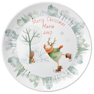 Merry Christmas Ice Skating Deer in Winter on Plate