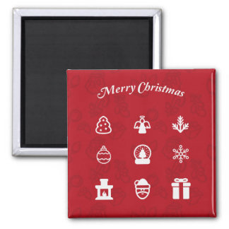 Merry Christmas icons illustration Magnet