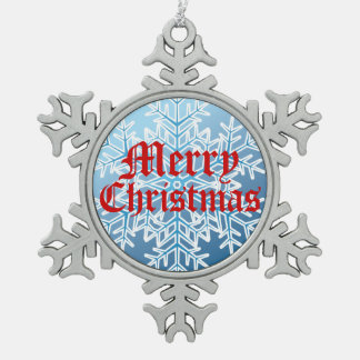 Merry Christmas Icy Blue Snowflake Ornament Pewter Snowflake Ornament