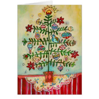 Merry Christmas Illustrated Folk Tree Holiday Card
