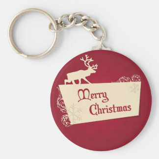 Merry Christmas illustration Basic Round Button Key Ring