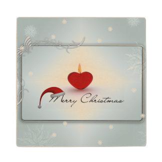 Merry Christmas illustration Maple Wood Coaster