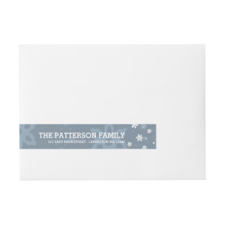 Merry Christmas in Blue Holiday Greetings Label Wraparound Address Label