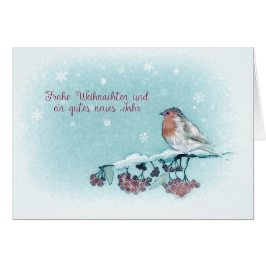 Merry Christmas in German, Robin, Berries, Card
