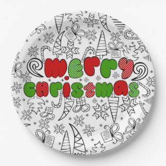 """""""Merry Christmas"""" in kid's drawnings style Paper Plate"""