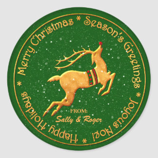 Merry Christmas in Multi Languages Classic Round Sticker
