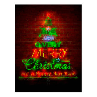 Merry Christmas in Neon Lights Postcard