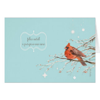Merry Christmas in Portuguese, red cardinal bird Greeting Card