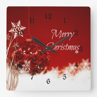Merry Christmas in Red and White Square Wall Clock