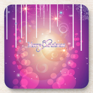 Merry christmas in soft pink drink coasters