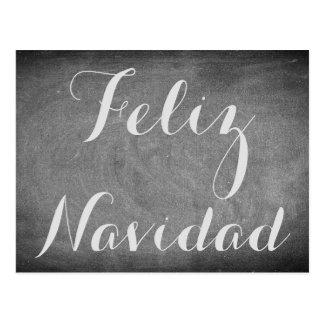 Merry Christmas in Spanish Chalkboard Typography Postcard
