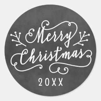 Merry Christmas in White Script | Chalkboard Round Sticker