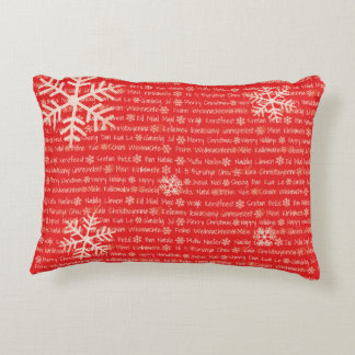 Merry Christmas in World Languages Pillow
