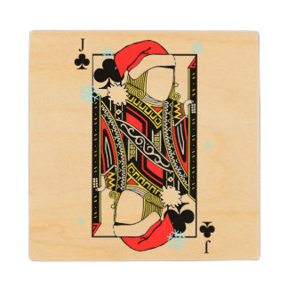 Merry Christmas Jack of Clubs - Add Your Images Maple Wood Coaster