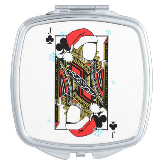 Merry Christmas Jack of Clubs - Add Your Images Travel Mirror