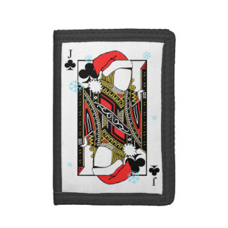 Merry Christmas Jack of Clubs - Add Your Images Tri-fold Wallets