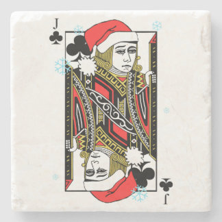 Merry Christmas Jack of Clubs Stone Coaster