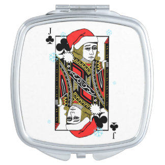 Merry Christmas Jack of Clubs Travel Mirrors