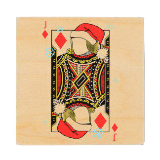 Merry Christmas Jack of Diamonds - Add Your Images Wood Coaster