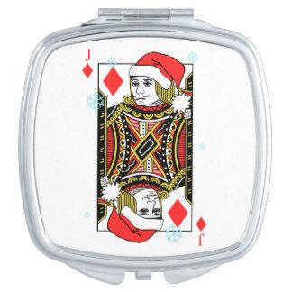 Merry Christmas Jack of Diamonds Travel Mirror