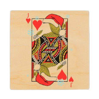 Merry Christmas Jack of Hearts - Add Your Images Wood Coaster