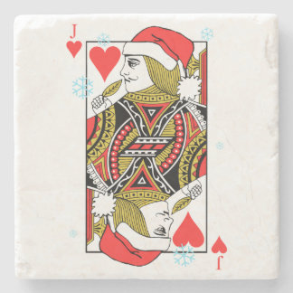 Merry Christmas Jack of Hearts Stone Coaster