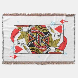 Merry Christmas Jack of Hearts Throw Blanket