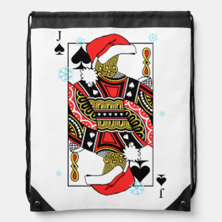 Merry Christmas Jack of Spades - Add Your Images Drawstring Bag