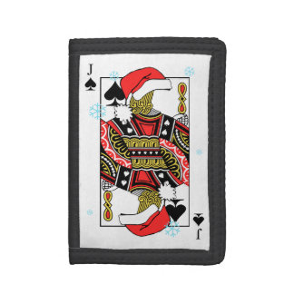 Merry Christmas Jack of Spades - Add Your Images Trifold Wallet