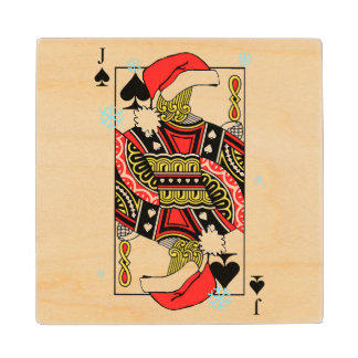 Merry Christmas Jack of Spades - Add Your Images Wood Coaster
