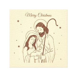 Merry Christmas - Jesus, Mary and Joseph Canvas Print
