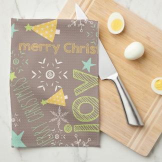 Merry Christmas, Joy, Christmas Trees Kitchen Tea Towel