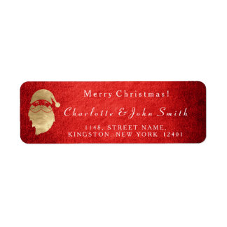 Merry Christmas Joy Red Gold Santa Claus Return Address Label