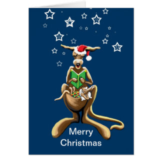 Merry Christmas kangaroo and joey Card