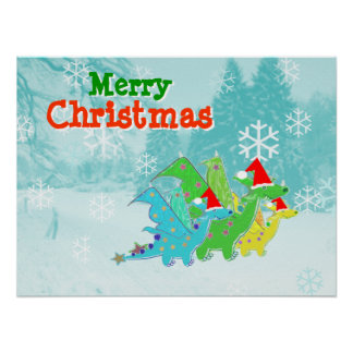 Merry Christmas Kawaii Dragons Poster