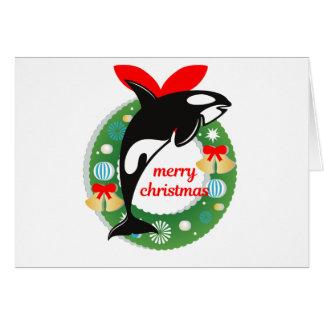 merry christmas killer whale card