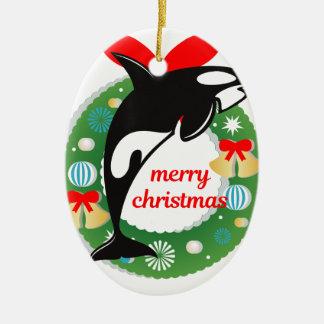 merry christmas killer whale ceramic ornament