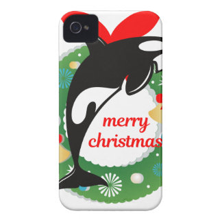 merry christmas killer whale iPhone 4 Case-Mate case