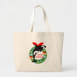 merry christmas killer whale large tote bag