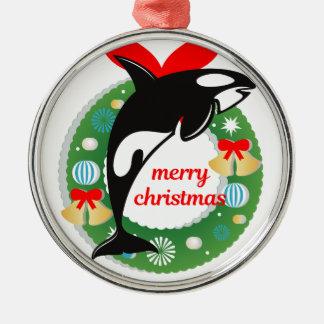 merry christmas killer whale metal ornament