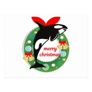 merry christmas killer whale postcard