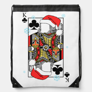Merry Christmas King of Clubs - Add Your Images Drawstring Bag