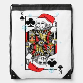 Merry Christmas King of Clubs Drawstring Bag