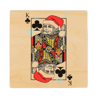 Merry Christmas King of Clubs Wood Coaster
